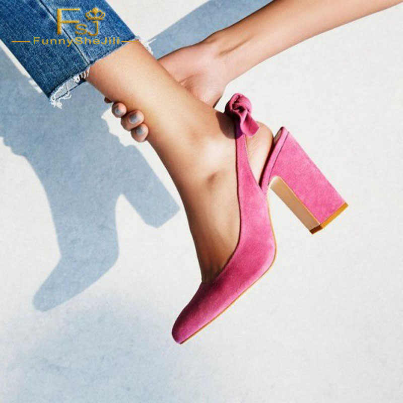 090ed67c42c FSJ Women Shoes Ladies Pumps 2018 Spring Autumn Pink Commuting Suede  Pointed Toe Chunky Heels Slingback