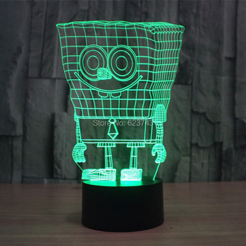 Free Shipping 7 Color changing 3D SpongeBob Squarepants Plastic LED - Night Lights - Photo 6