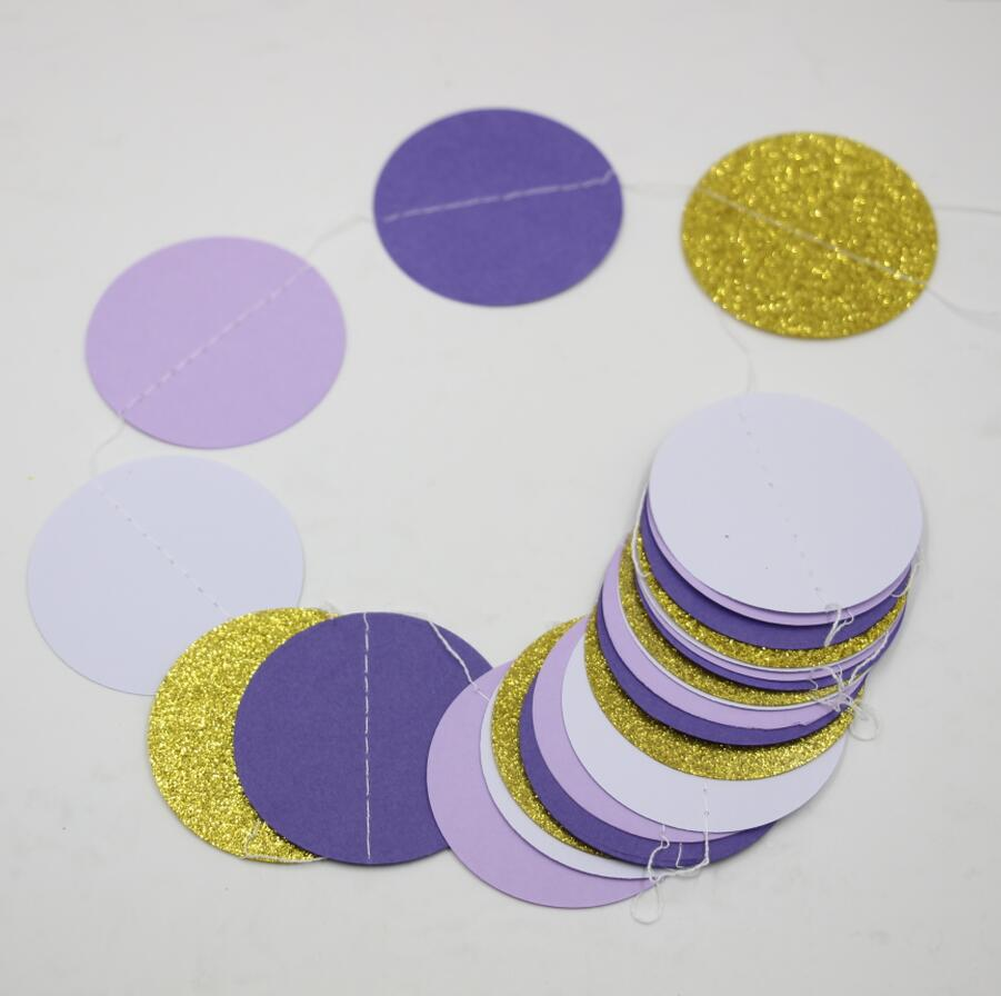 Gold color cardstock paper - 2pcs Purple Gold Circle Paper Garland Wedding Decor Children Room Hanging Decor