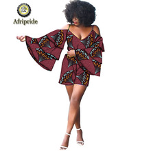 2019 african short top+short pants 2-piece suits for women dashiki pure cotton fare sleeve sexy party suits AFRIPRIDE S1926016