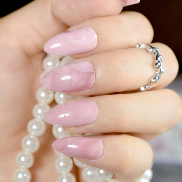 STILETTO marble nail tips light pink press on artificial fake nails ...