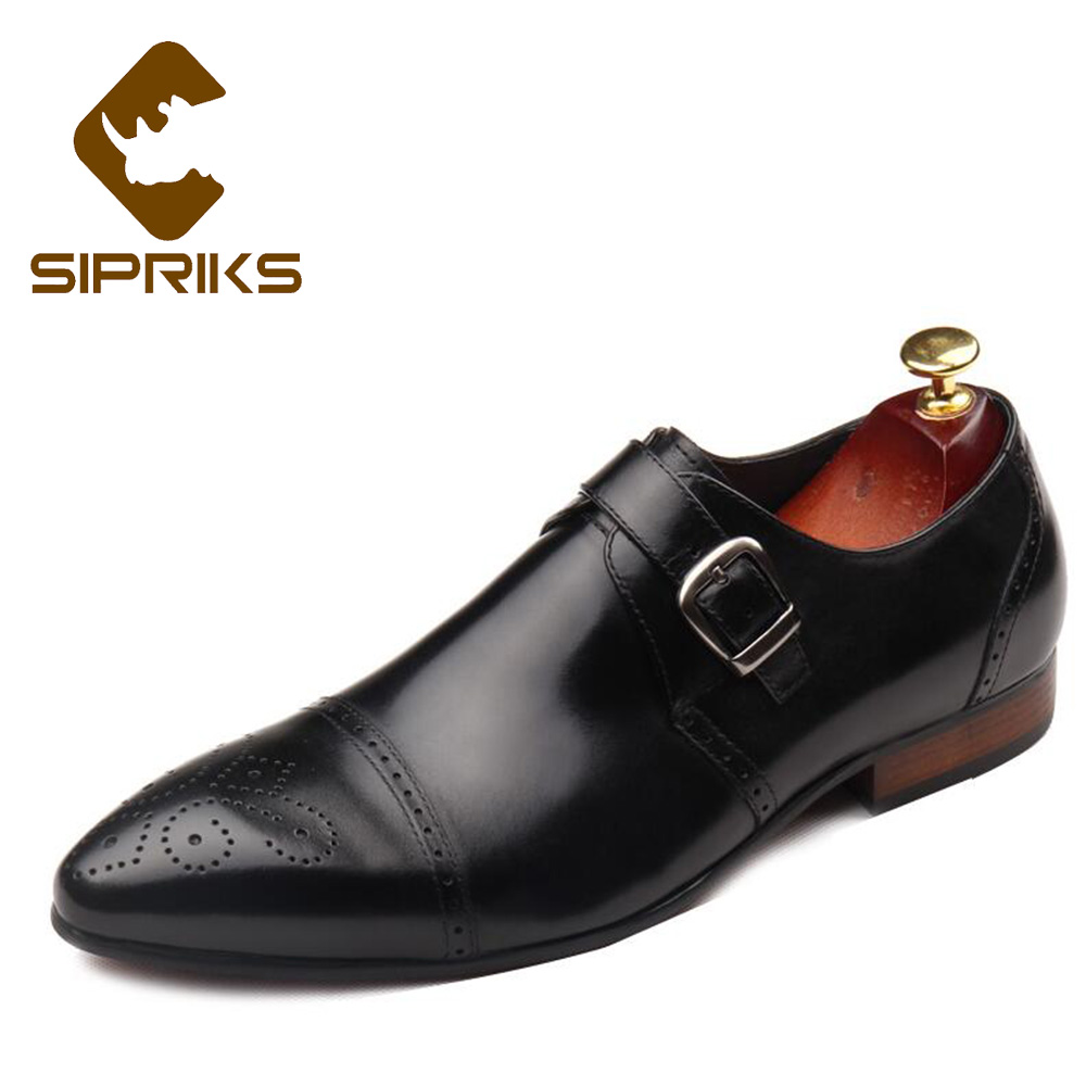 Sipriks Mens Single Monk Strap Shoes Cap Toe Carved Brogue Oxfords Classic Church Shoes Italian Craftwork Designer Dress Shoes sipriks mens single monk strap shoes fashion mens topsiders shoes pointed toe real leather dress shoes with buckle strap work