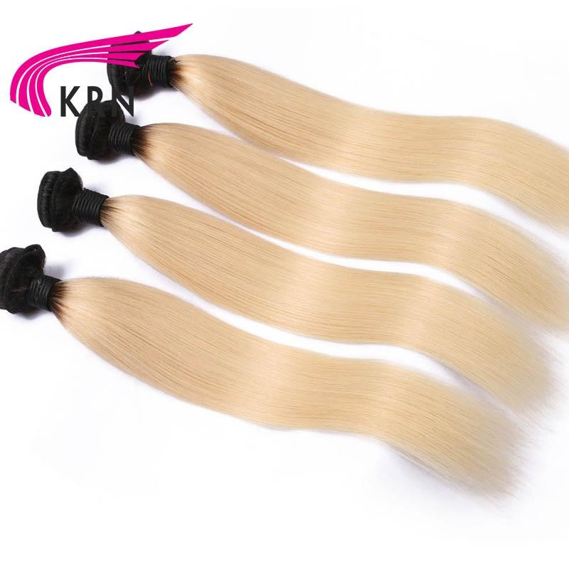 КРН 1B/613 Ombre Цвет 8-30 дюймов Волосы Remy бразильские прямые пучки волос 100% Человеческие волосы светлые Связки Бесплатная доставка 4 шт.