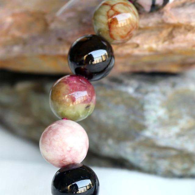 O Envio gratuito de Desconto Por Atacado Genuine Natural Turmalina Mix Esticar Pulseira Rodada beads 6-12mm Fit Jóias 01179