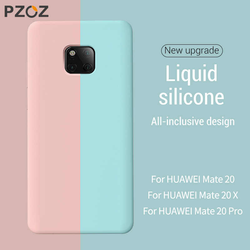 PZOZ Luxury Liquid Silicone Case For Huawei P30 Mate 20 Pro X Cover Candy Color Silicon Case Coque Shockproof Shell For Huawei