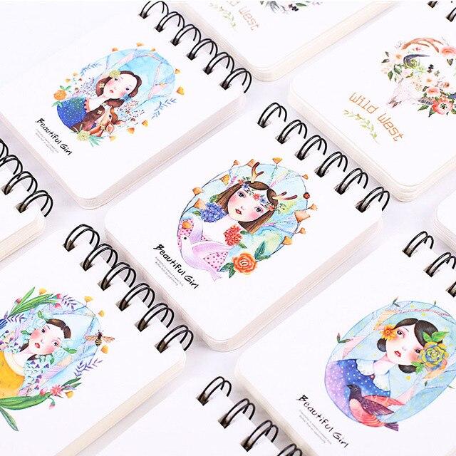 Student Diy Cute Kawaii Flower Girl Coil Sketching Book Cartoon