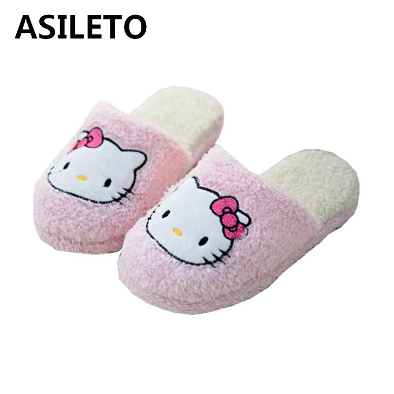 206b57c4a ASILETO winter New Hello Kitty Cute Home Slippers Short Plush Warm Soft  Cotton Women Slippers Non