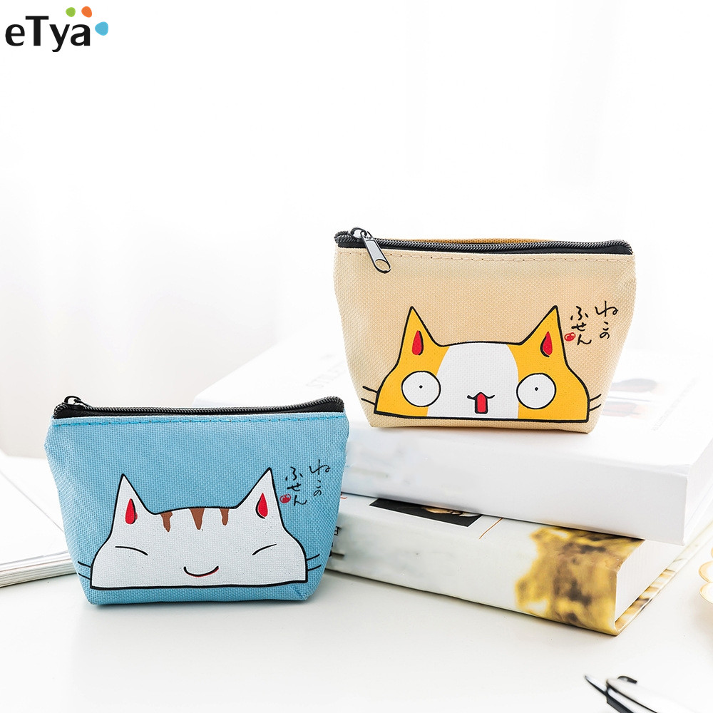 eTya Women Small Cute Cat Coin Wallet Purse Ladies Kids Card Holder Key Zipper Case Money Wallet Case Bag for Girls Gift etya new women purses cute zipper small flower bag female girl headset line coin purse card bag clutch wallet key bags wholesale