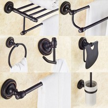 все цены на Black Oil Rubbed Bronze Bathroom Toilet Paper Holder Wall Mounted Towel Bar Toilet Brush Holder Bathroom Accessories Set онлайн