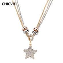 Chicvie Кристалл бусы ожерелья и кулон звезда серебряного цвета
