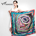 [VIANOSI]  Fashion Style Satin Square Scarf Women 100*100cm High Quality Silk Scarves Shawl Hijab Brand Foulard VA037