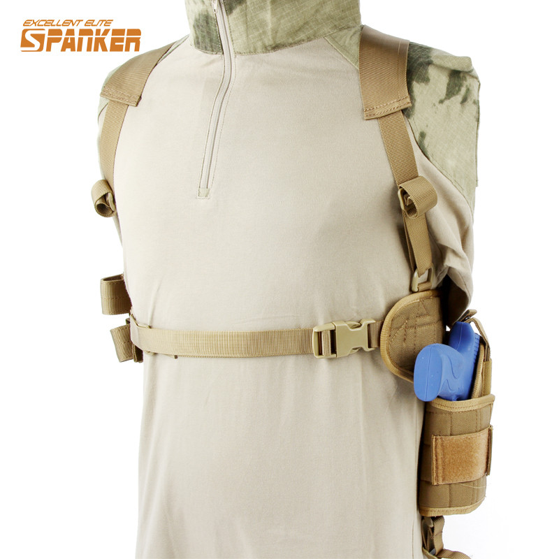 SPANKER 1000D Special Horizontal Universal Rig Shoulder Molle Pistol Gun Armpit Holster Combat Hunting Shooting Utility Gun Rig shooting equipment gun pistol adapter for motion controller ps3 move