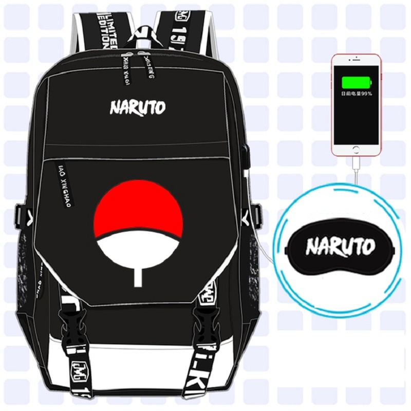 Anime Naruto backpack UNISEX student school bag preppy style usb charge backpack