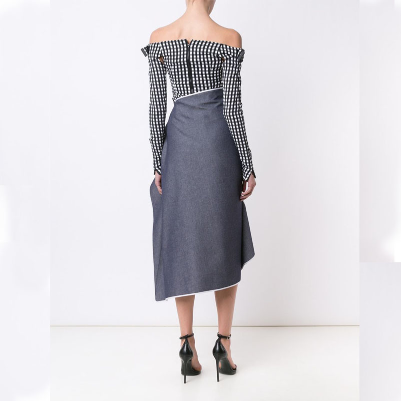 AEL 2019 High quality Ladies clothing White and grey style New Casual fashion Irregular Hem Long skirt different interesting in Skirts from Women 39 s Clothing