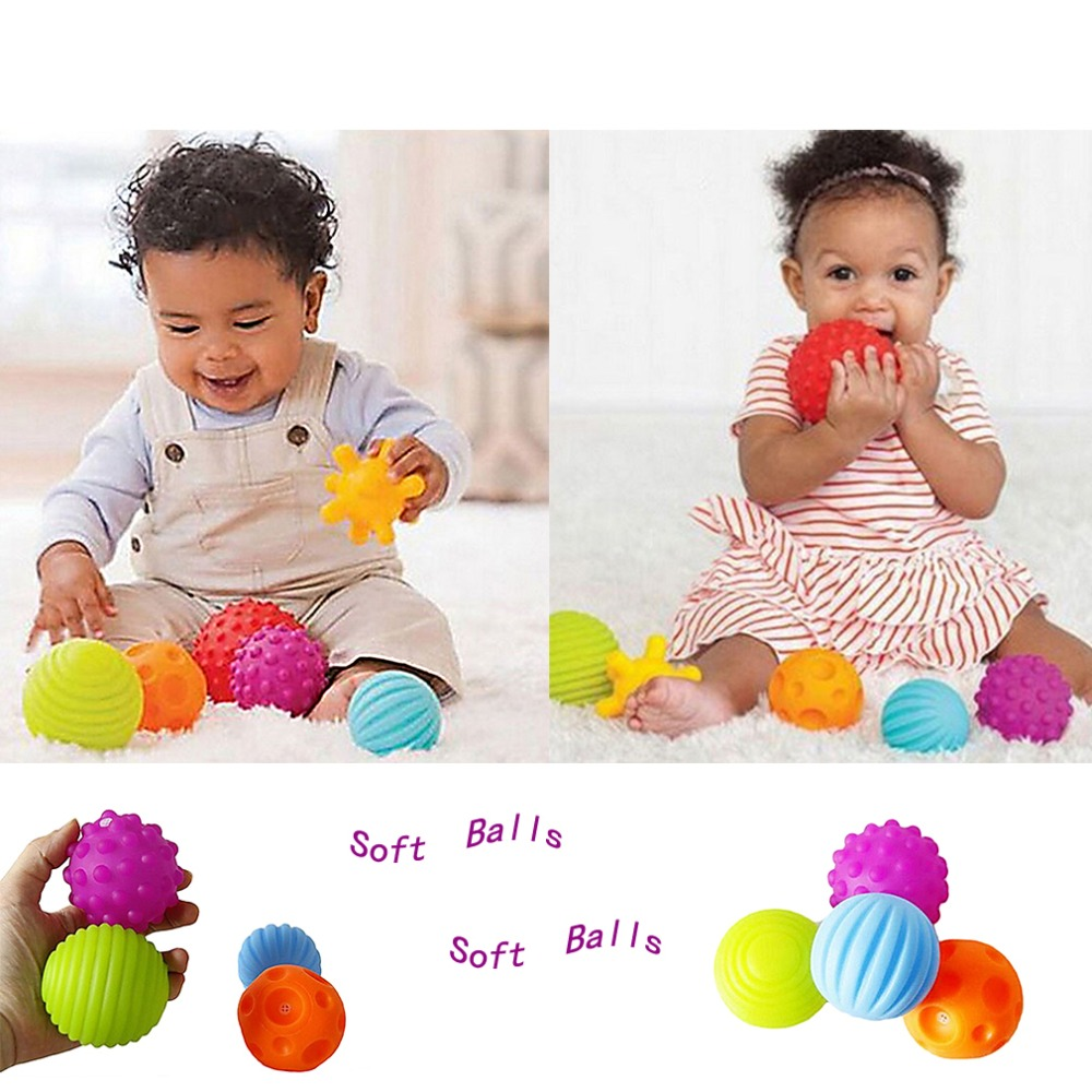 4pcs/set Baby Toys Soft Touch Hand Catch Ball Massage Grip ...