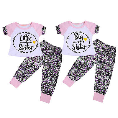 2017 Toddler Kids Baby Girls Clothes Sister T-shirt Tops Leopard Long Pants Outfits Summer Toddler Girl Clothing Two Pieces Set 3pcs set cute baby girls clothes 2017 summer toddler kids denim tops leopard culotte skirt outfits children girl clothing set