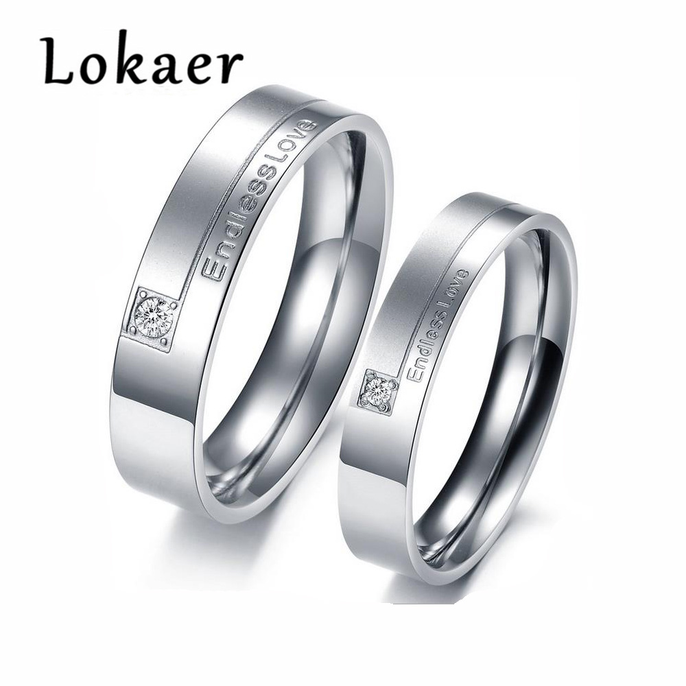 Lokaer New Arrival 316L Stainless Steel Mosaic Rhinestone Couple Rings Endless Love Engagement Ring For Women Men