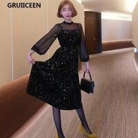 GRUIICEEN Velvet Dress 2018 New Spring Elegant Long Women Dress Mesh Stars Formal Runway Womans Dress Black Color