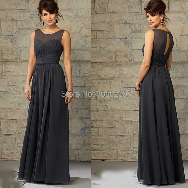 Free Shipping Dark Grey Bridesmaid Dresses Long Chiffon
