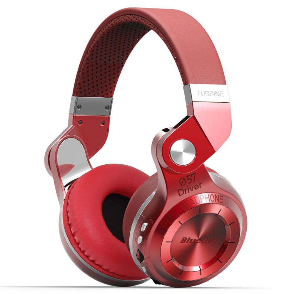 Bluedio T2+ Foldable Bluetooth Headphones 4.1 Headset Stereo support FM radio& MicroSD Card Functions Music&phone Calls(Red)