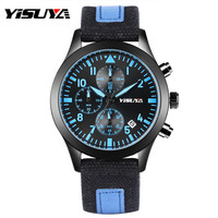 YISUYA New Watch 2017 Men Chronograph Men S Watch Automatic Date Clock Quartz Wristwatches Canvas Strap