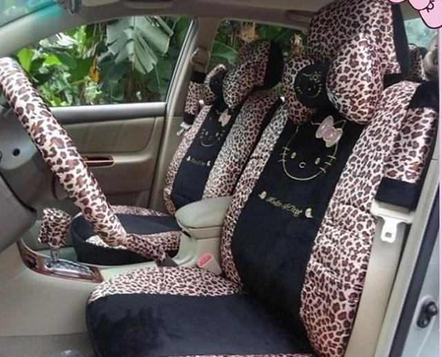 18pcs The New Hello Kitty Gold Leopard Print Car Seat Covers Chair Sets
