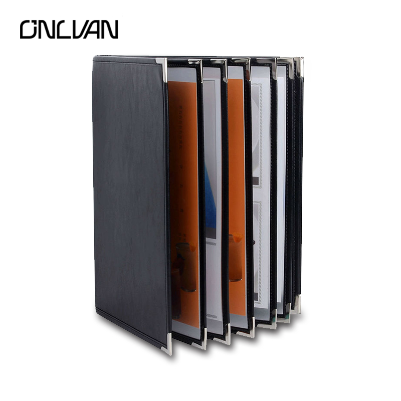 ONLVAN PU leather Restaurant Menu Covers Coffee Bar DIY Menu Folders Restaurants Equipments Accept OEM Menu List Folder pu leather menu holder restautant menu covers custom leather folders pvc page with high quality accept customized order