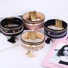 HOCOLE 2019 Trendy Charm Tassel Leather Bracelet Bangles Female Vintage Rhinestone Wide Multilayer Bracelet For Women Jewelry gorgeous multilayer rhinestone leaf tassel ring for women