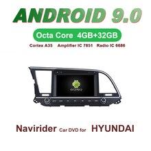 Navirider gps Android 9,0 bluetooth стерео 4-х ядерный 8-Core dvd-плеер автомобиля для HYUNDAI ELANTRA 2016 головное устройство авто аксессуары