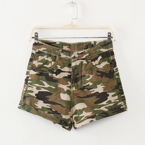 Women Casual Camouflage Shorts Jeans Feminino high Waist Shorts with pockets Vintage Denim Short summer military shorts