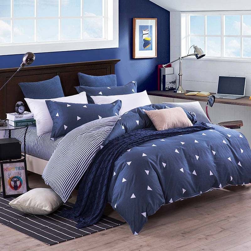 Blue Style Bedding Sets 3/4pcs Geometric Pattern Bed Linings Duvet Cover Bed Sheet Pillowcases Cover Set