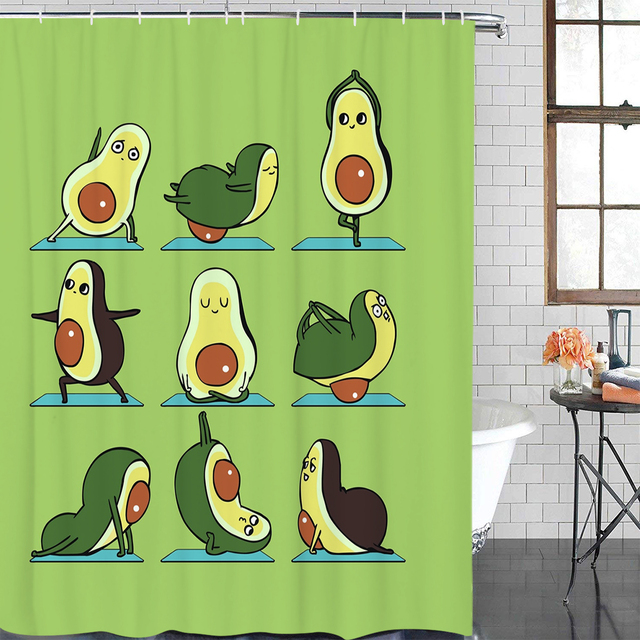 Avocado Yoga Shower Curtain and Mat