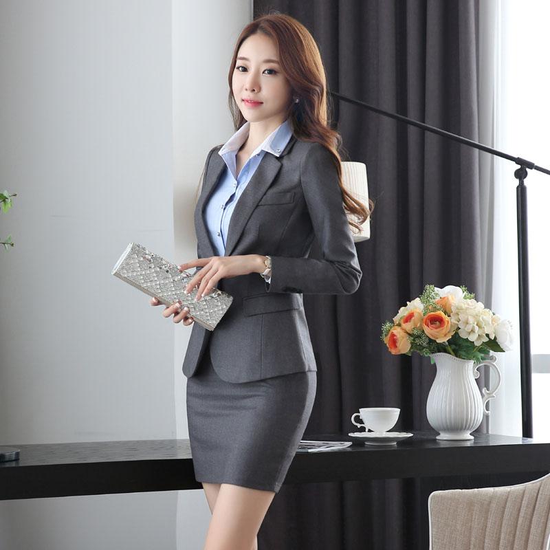 Slim Fashion Uniform Design Work Wear Suits With Jackets And Skirt Novelty Grey Professional Office Uniforms for Business Women белая рубашка с объемными рукавами и вырезом
