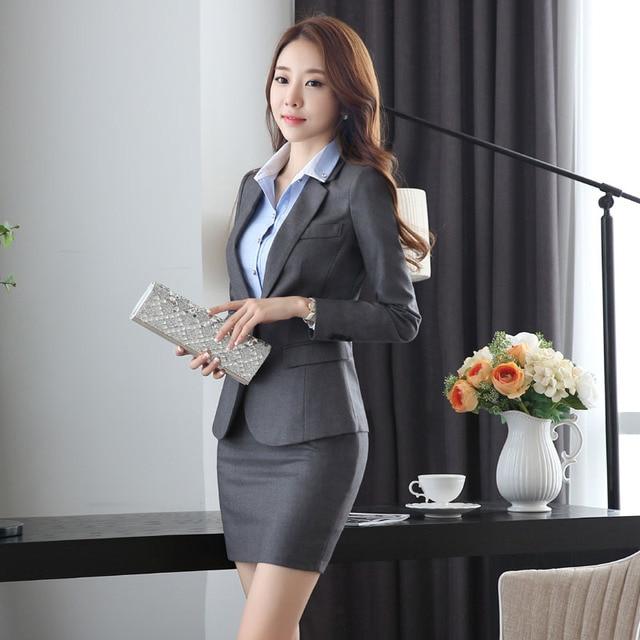 Delgado moda diseño uniforme de trabajo trajes ropa con chaquetas y falda  novedad Grey oficina profesional 96c480d8d9ef