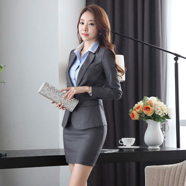 78a6e7bb309 Online Shop Slim Fashion Uniform Design Work Wear Suits With Jackets And  Skirt Novelty Grey Professional Office Uniforms for Business Women