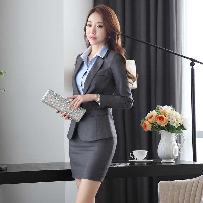 54abbf7627a7 Detail Feedback Questions about Slim Fashion Uniform Design Work Wear Suits  With Jackets And Skirt Novelty Grey Professional Office Uniforms for  Business ...