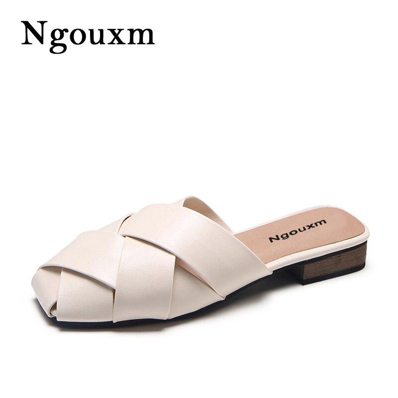 Ngouxm 2018 Новая мода лето Diamond Дизайн Для женщин тапочки женская обувь Шлепанцы кожаные туфли Для женщин плоской подошве тапочки без застежки