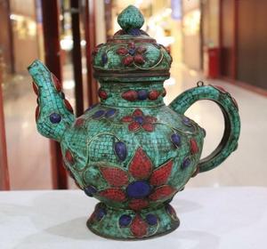 Nepal Tibet antiguo cobre turquesa con incrustación Coral gema jarrón jarra de Té vino Pot