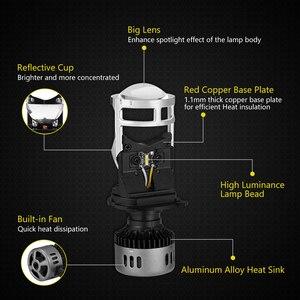 Image 4 - 2 pcs h4 led 미니 프로젝터 렌즈 변환 키트 6500 k 헤드 라이트 하이/로우 빔 10000lm 전구 자동차 12 v/24 v