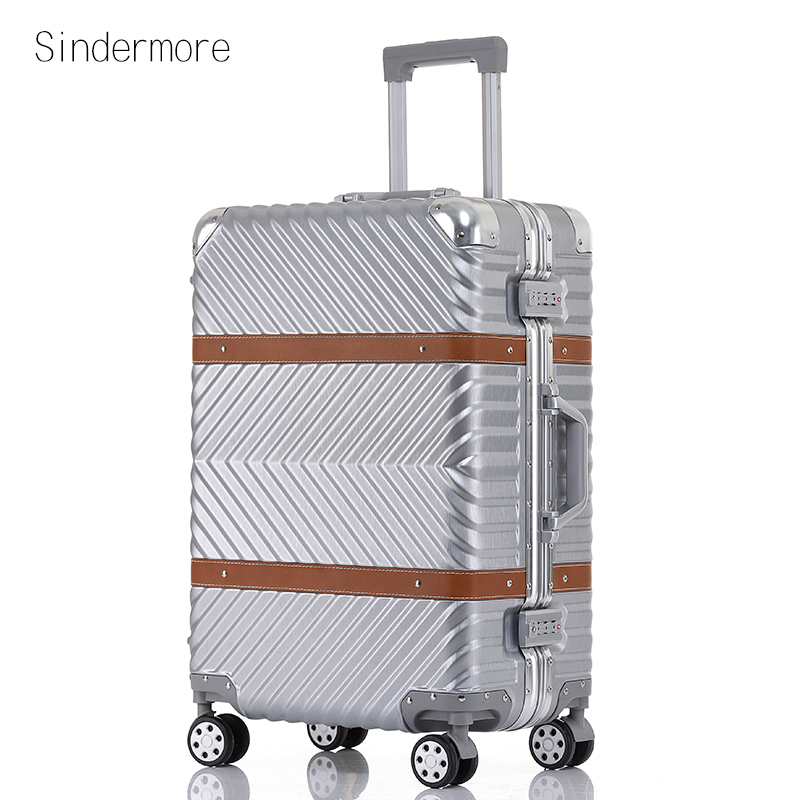 sindermore 20 25 29 Aluminum frame PC Twill hardside luggage rolling spinner carry on travel trolley luggage suitcase 20 25 29 aluminum magnesium alloy metal luggage fashion spinner rolling suitcase business aluminum frame luggage