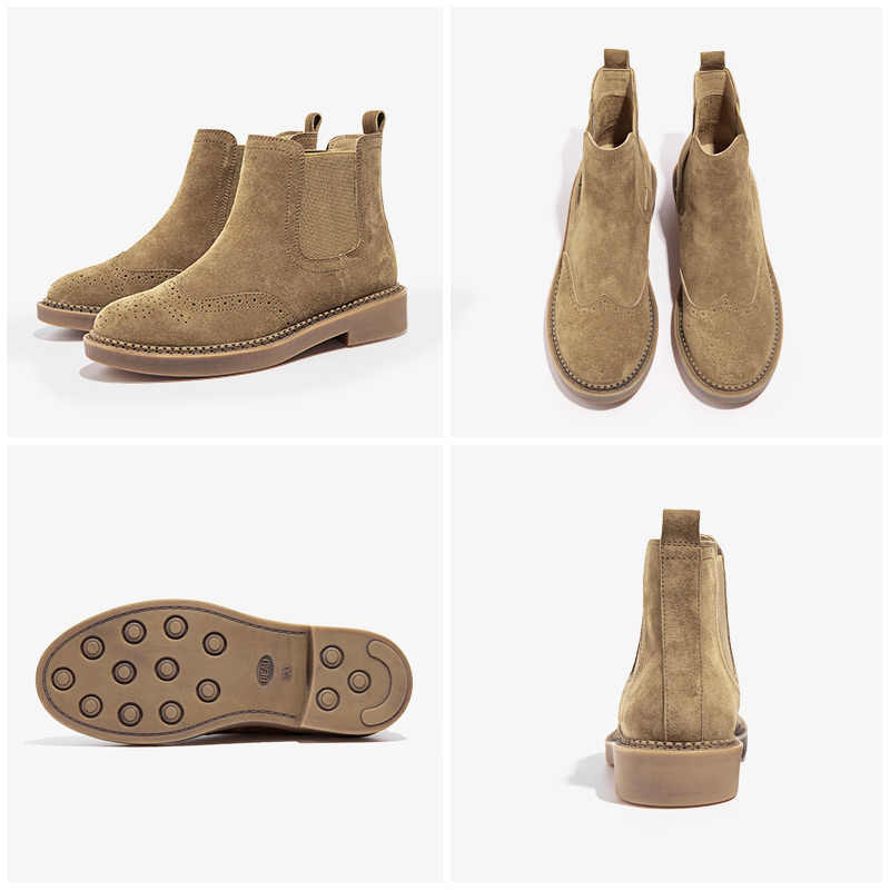 BeauToday Chelsea çizmeler kadın elastik ayak bileği domuz süet Brogue çizme hakiki deri kaliteli marka bayan ayakkabıları el yapımı 04016