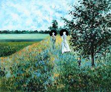 The Promenade Near Argenteuil by Claude Monet Handpainted