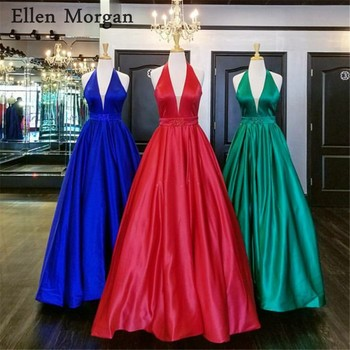 Red Blue Satin Prom Dresses for Women Long Halter Floor Length Zipper Beaded Real Photos Formal Evening Party Gowns 2019