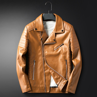 Men leather jackets and coats Autumn Turn down Collar Multi zipper British motorcycle biker leather jackets Khaki Black Red Blue