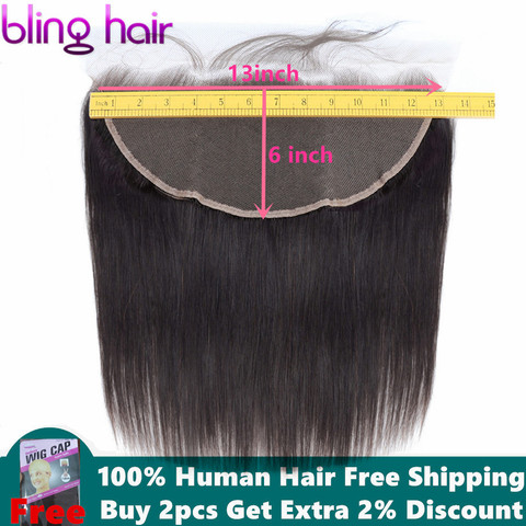 Bling Hair 13x6 Lace Frontal Closure Malaysian Straight Human Hair Closure with Baby Hair 100% Remy Hair Closure Natural Color Pakistan