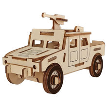 New Car Woodcraft Construction Kit r DIY 3D Wooden car Puzzle Wooden Puzzle Game Assembly Toy Gift for Children 16.2*7*8.5cm(China)