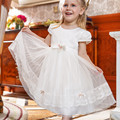 Nimble Girl Lace Dress Knee-Length Kids Summer Cloth Flower Princess Wedding Dress Polyester Ball Gown