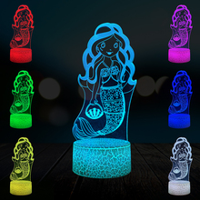 Cartoon Princess Mermaid 3D Lamp Multicolor LED Night Light Home Decorative Girl Gift Christmas Desk RGB Touch RC Remote Switch