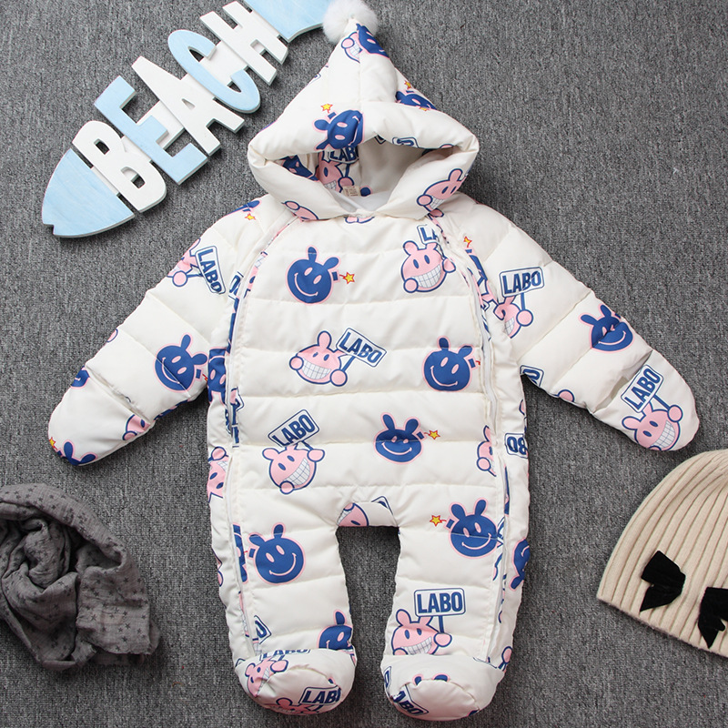 new arrival baby girls boys down snowsuit 2016 Russia Winter Baby Rompers Waterproof Newborn Outerwear Infant Girl Clothing winter newborn baby girls clothing boys rompers cartoon infant clothes down snowsuit babies jumpsuits christmas clothing 2016