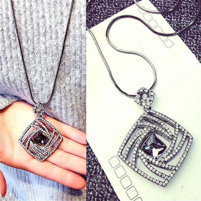 Vintage Geometrisk Krystal Lang Halskæde Kvinder Bijoux Mode Søde - Mode smykker - Foto 1